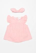 POP CANDY - Frill sleeve dress & headband set - pink