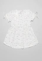 POP CANDY - Stripe dress - white & black