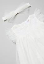POP CANDY - Frill sleeve dress & headband set - white