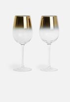 Excellent Housewares - Gold dip wine glass set of 2