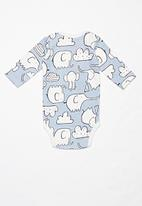 POP CANDY - Elephant long sleeve grow-on - blue & white