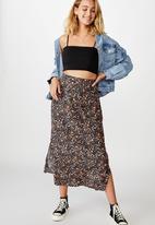 Cotton On - 90s slip skirt alma floral - midnight navy