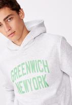 Factorie - Greenwich New York graphic hoodie - grey