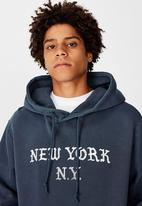 Factorie - New york graphic hoodie - washed navy