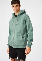 Factorie - Washed zip through hoodie - washed khaki