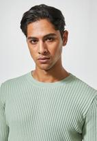 Superbalist - Ribbed slim fit crew neck knit - green