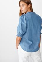 Cotton On - Denim frill blouse - blue