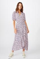 Cotton On - Woven Ri ruffle wrap maxi dress bronte ditsy - purple & blue