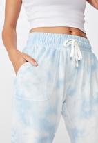Cotton On - Washed gym trackpant - blue & white