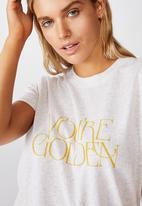 Cotton On - Classic slogan T-shirt you're golden - gardenia