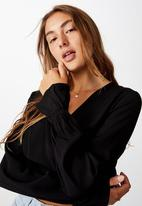 Cotton On - Hailey long sleeve wrap blouse - black