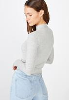 Cotton On - Quinny long sleeve  rib pullover - grey