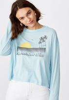 Cotton On - Relaxed fit graphic long sleeve sunshine diet - blue