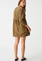 Cotton On - Woven Bethany broiderie babydoll mini dress - dark olive