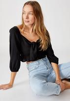 Cotton On - Jessie tie front blouson sleeve blouse - black