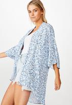 Cotton On - Wanderlust kimono bronte ditsy - parisian blue