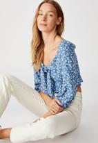 Cotton On - Jessie tie front blouson sleeve blouse Chloe daisy - parisian blue