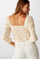 Cotton On - Jessie tie front blouson sleeve blouse Chloe daisy - white