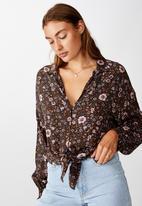 Cotton On - Tie front lw long sleeve blouse jordan floral - raven