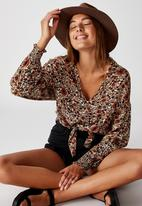 Cotton On - Tie front lw long sleeve blouse jordan floral - multi