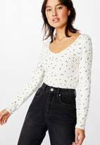 Cotton On - The jordan pointelle long sleeve top Ellie ditsy - gardenia
