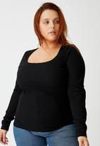 Cotton On - Curve sweetheart square neck long sleeve top - black