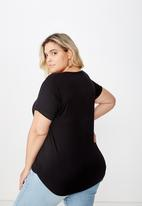 Cotton On - Curve Karly short sleeve tee - black