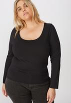 Cotton On - Curve everyday long sleeve scoop top - black