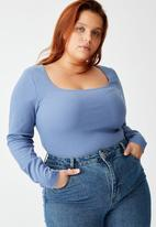 Cotton On - Curve sweetheart square neck long sleeve top - infinity blue