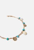 Rubi - Shell chain links anklet - gold & turquoise