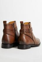 MANGO - Leather ankle boots with buckle detail - brown