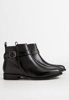 MANGO - Leather ankle boots with buckle detail - black