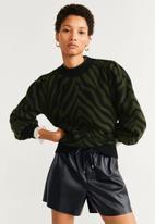 MANGO - Zebra jersey - khaki & black