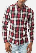 JEEP - Check regular fit shirt - burgundy