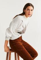 MANGO - Sweater rumba - white & brown