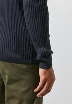 Superbalist - Ribbed slim fit crew neck knit - navy