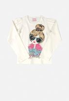 Quimby - Girls printed tee - white