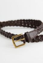 MANGO - Woven leather belt - brown