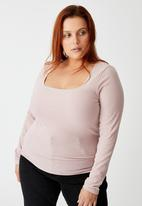 Cotton On - Curve sweetheart square neck long sleeve top - burnished lilac