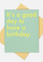 Typo - Nice birthday card -  turquoise & yellow