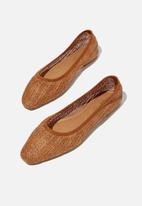 Cotton On - Essential carina square toe ballet - brown