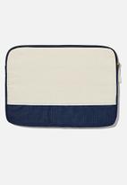 Typo - Canvas 13 inch laptop case - natural & navy