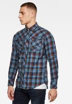 G-Star RAW - Arc 3d slim shirt long sleeve delft salie check - blue & red