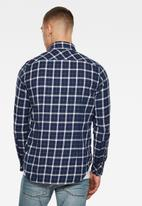 G-Star RAW - 3301 Slim shirt long sleeve milk bai check - navy & white