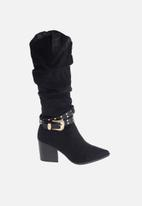 Sissy Boy - West foot forward over the knee cowboy boot - black