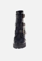Sissy Boy - Just my buckle heel utility boot - black