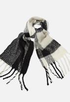 Rubi - Pippa brushed tassel scarf - black & white