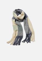 Rubi - Pippa brushed tassel scarf - navy & cream