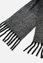 Rubi - Pippa brushed tassel scarf - black & grey