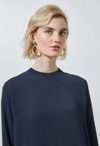 Superbalist - Longline high neck blouse with zip detail - navy